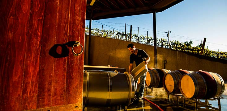 Winemaking at the Keever Vineyards winery in Yountville, California